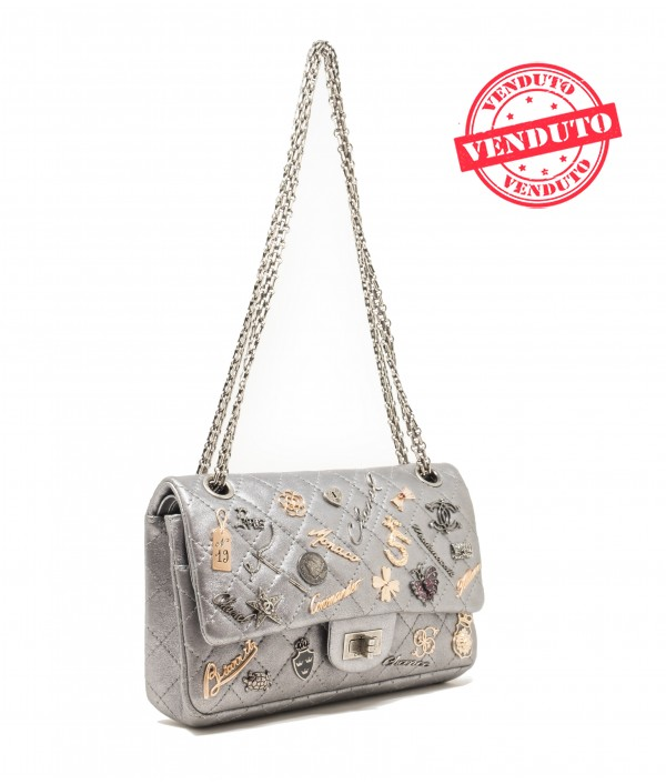 """CHANEL 2.55 """"LUCKY CHARMS"""" SILVER"""